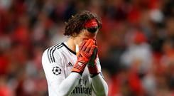 Soccer Football - Champions League - S.L. Benfica vs Manchester United - Estadio da Luz, Lisbon, Portugal - October 18, 2017 Benfica's Mile Svilar looks dejected Action Images via Reuters/Carl Recine