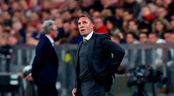 Soccer Football - Champions League - Bayern Munich vs Celtic - Allianz Arena, Munich, Germany - October 18, 2017 Celtic manager Brendan Rodgers looks dejected REUTERS/Michael Dalder