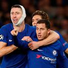 Soccer Football - Champions League - Chelsea vs AS Roma - Stamford Bridge, London, Britain - October 18, 2017 Chelsea's Eden Hazard celebrates scoring their third goal with Gary Cahill and Marcos Alonso. Action Images via Reuters/John Sibley