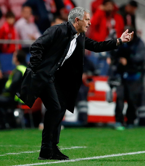 Manchester United manager Jose Mourinho urges his players on. Photo: Carl Recine/Reuters