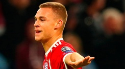 Bayern Muenchen's Joshua Kimmich celebrates scoring his sides second goal against Celtic. Photo: Alexander Hassenstein/Getty Images