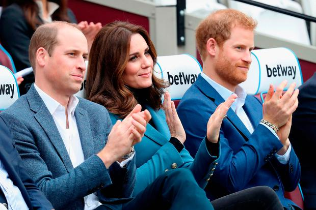 Prince William, Duke of Cambridge, Catherine, Duchess of Cambridge and Prince Harry attend the Coach Core graduation ceremony for more than 150 Coach Core apprentices at The London Stadium on October 18, 2017 in London, England. (Photo by Chris Jackson/Getty Images)