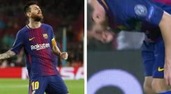 Lionel Messi was seen taking a pill out of his sock