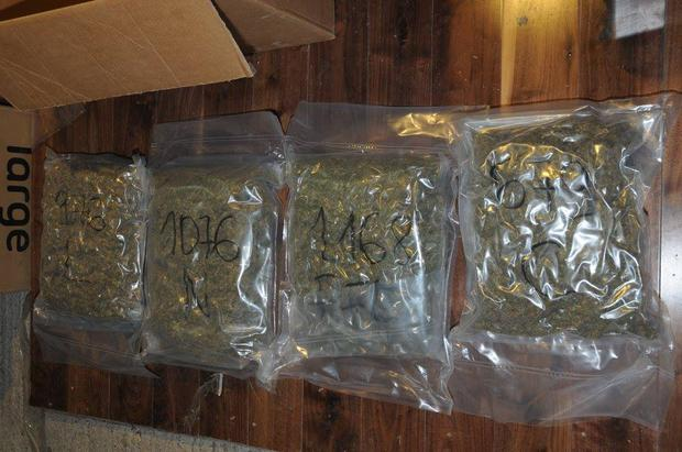 Cocaine and cannabis were recovered during the raid. Pic: An Garda Siochana