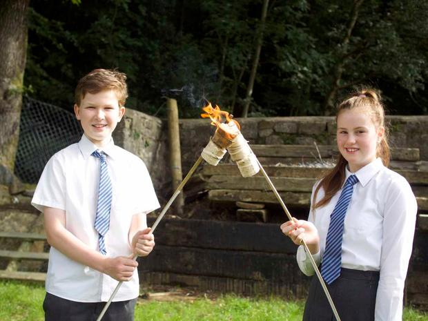 Scoil Chaoimhin Naofa National School pupils Holly Shanks and Kornel Szovati testing their Set A Blaze product