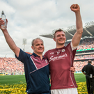 3 September 2017; Galway's Joe Canning with manager Micheál Donoghue following the GAA Hurling All-Ireland Senior Championship Final match between Galway and Waterford at Croke Park in Dublin. Photo by Ramsey Cardy/Sportsfile