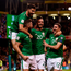 6 October 2017; Daryl Murphy is congratulated by his Republic of Ireland team-mates, from left, Shane Long, Shane Duffy and Stephen Ward after scoring his side's opening goal during the FIFA World Cup Qualifier Group D match between Republic of Ireland and Moldova at Aviva Stadium in Dublin. Photo by Stephen McCarthy/Sportsfile