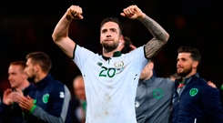 There was concern when Duffy was substituted in the Seagulls' Premier League draw with Everton last Sunday after suffering a groin injury. Photo by Stephen McCarthy/Sportsfile