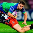 Caolin Blade of Connacht is tackled by Jérémy Scalese of Oyonnax during the Challenge Cup clash at the Stade de Geneve Stadium last weekend. Photo by Sam Barnes/Sportsfile