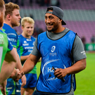 Bundee Aki congratulates his Connacht team-mates after a job well done against Oyonnax. Photo by Sam Barnes/Sportsfile