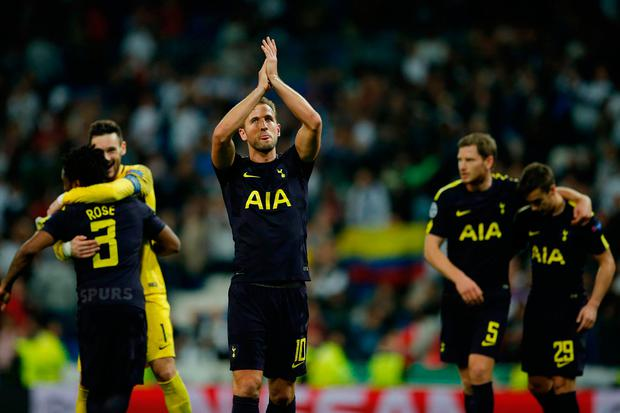 Tottenham's Harry Kane applauds to fans at the end of their Champions League clash at the Santiago Bernabeu. AP Photo