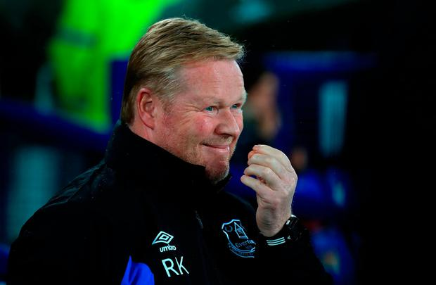 Ronald Koeman looks on as his Everton side lose out at home to Lyon. Photo: Peter Byrne/PA