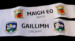 The names of Mayo and Galway who were drawn against each other in the Connacht Football Championship quarter-final after the 2018 GAA Championship Draw at RTÉ Studios in Donnybrook, Dublin. Photo: Piaras Ó Mídheach/Sportsfile
