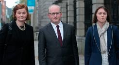 Derville Rowland Director General of Financial Conduct Central Bank; Central Bank Governor Prof Philip Lane; and Sharon Donnery Deputy Governor, Central Bank during a Finance, Public Expenditure and Reform, and Taoiseach committee meeting with with representatives from tthe Central Bank of Ireland at Leinster House, Dublin, Photo: Gareth Chaney Collins