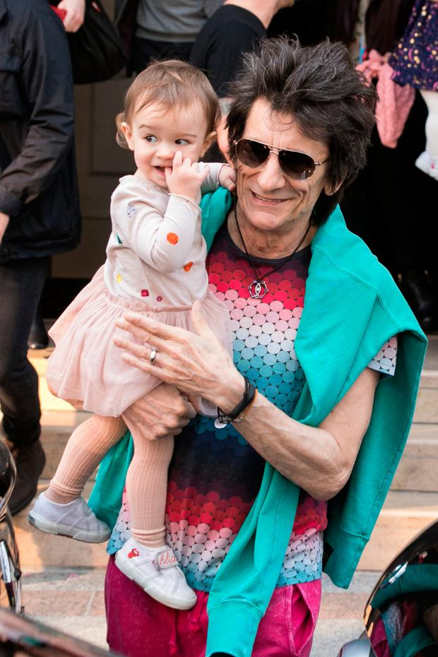 'The Rolling Stones' rocker Ronnie Wood and his daughter Gracie Jane Wood are seen leaving the 'Four Seasons George V' hotel ahead the first Rolling Stones concert at U Arena on October 19, 2017 in Paris, France. (Photo by Marc Piasecki/GC Images)