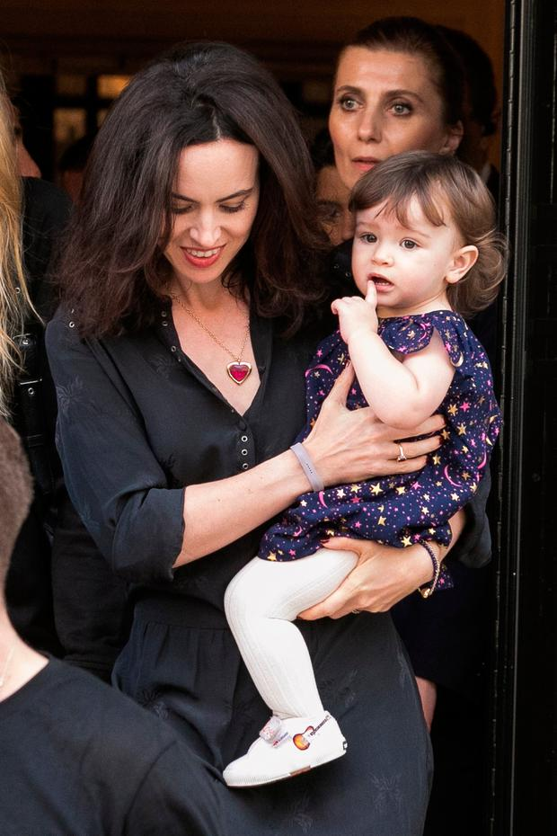 Sally Humphreys and her daughter Alice Rose Wood are seen leaving the 'Four Seasons George V' hotel ahead the first Rolling Stones concert at U Arena on October 19, 2017 in Paris, France. (Photo by Marc Piasecki/GC Images)
