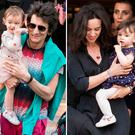 Ronnie Wood and his daughter Gracie Jane Wood, left, and Sally Humphreys and her daughter Alice Rose Wood, right, in Paris