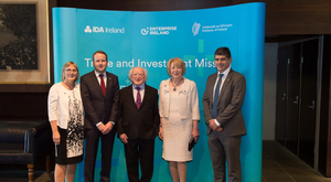 Julie Sinnamon, CEO, Enterprise Ireland, Andrew Flood, CEO, Prodigy Learning, President Michael D. Higgins and his wife Mrs. Sabina Higgins with Microsoft Australia Education Sector Director George Stavrakakis