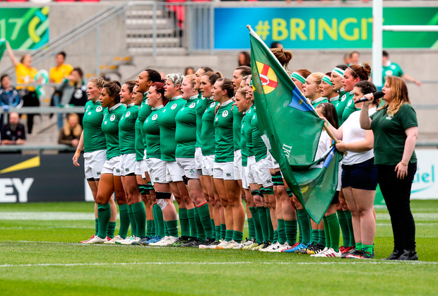 The Ireland team before the 2017 Women's Rugby World Cup, 7th Place Play-Off between Ireland and Wales at Kingspan Stadium in Belfast. Photo by John Dickson/Sportsfile