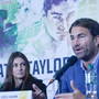 Eddie Hearn, an English boxing promoter, speaks during Katie Taylor's press conference in Dublin's City Hall ahead of her first professional fight. (Photo by Artur Widak/NurPhoto via Getty Images)