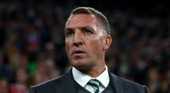Brendan Rodgers manager of Celtic looks on prior to the UEFA Champions League group B match between Bayern Muenchen and Celtic FC at Allianz Arena on October 18, 2017 in Munich, Germany. (Photo by Alexander Hassenstein/Bongarts/Getty Images)