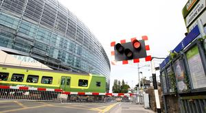 A general view of the Lansdowne Road Dart train approaching the station outside the Aviva Stadium on May 27, 2011 in Dublin, Ireland. (Photo by Julian Finney/Getty Images)