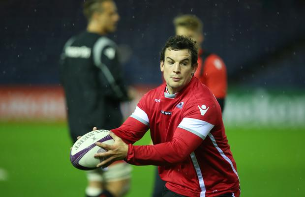 John Hardie of Edinburgh Rugby warms up prior to the European Rugby Challenge Cup match between Edinburgh Rugby and Grenoble at Murrayfield Stadium on November 13, 2015 in Edinburgh, Scotland. (Photo by Ian MacNicol/Getty images)