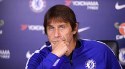 Antonio Conte of Chelsea during a press conference at Chelsea Training Ground on October 20, 2017 in Cobham, United Kingdom. (Photo by Darren Walsh/Chelsea FC via Getty Images)