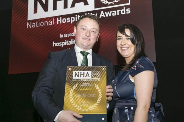 Alan Valley and Tania Collins, Ashford Castle - overall winner of Best Hotel Award at the National Hospitality Awards (picture: Paul Sherwood)