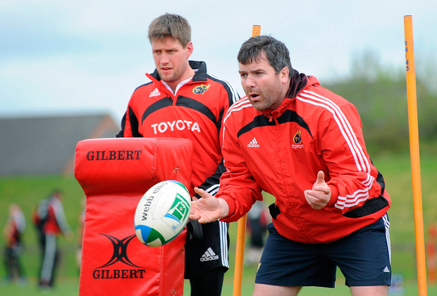 O'Gara at a training session with Anthony Foley in 2009. Picture credit: Diarmuid Greene / Sportsfile