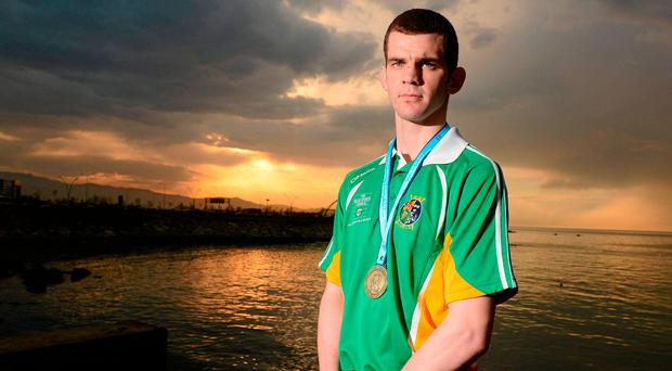 Adam Nolan with his gold medal with the gold medal he won at welterweight in the European Qualifying Championships for the 2012 Olympic Games. Picture credit: David Maher / Sportsfile