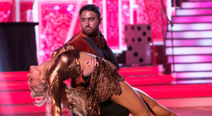 Hughie Maughan and professional partner Emily Baker on the night of his tanning disaster. Photo: kobpix