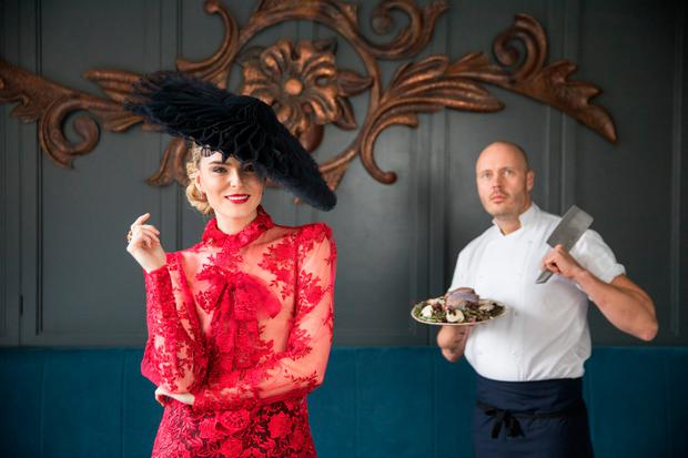 Sarah Morrissey and The Greenhouse chef, Mickael Viljanen launching the Irish International Fashion and Food Summit. Photo: Naoise Culhane