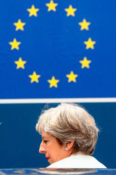 Theresa May leaves the European leaders' summit Picture: AFP