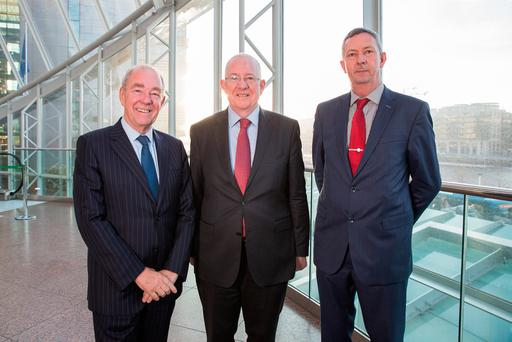 Mr Justice Nicholas Kearns, former President of the High Court; Charlie Flanagan, Minister for Justice and Equality; and Detective Superintendent Patrick Lordan, Head of the Garda National Economic Crime Bureau, at the Insurance Ireland Fraud Conference in the Convention Centre Dublin. Photo: Keith Arkins