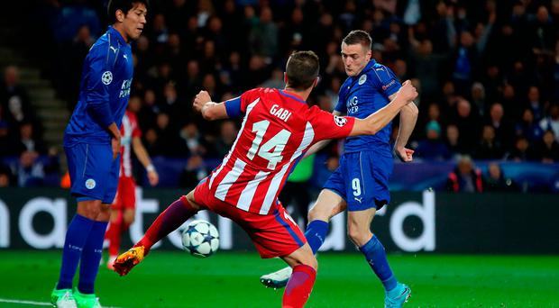 Leicester City's Jamie Vardy scores his side's goal during a Champions League against Atletico Madrid. Photo: Nick Potts/PA Wire.