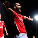 Kurtis Byrne celebrates after scoring St Patrick's Athletic's fourth goal at Richmond Park. Photo: Sportsfile