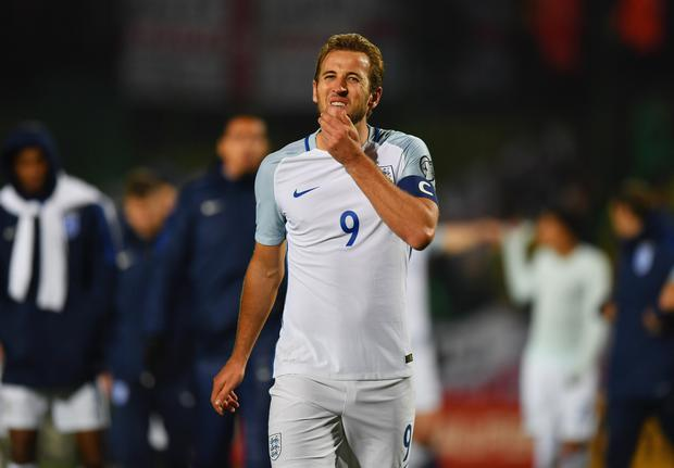 Harry Kane of England looks thoughtful after the FIFA 2018 World Cup Group F Qualifier between Lithuania and England at LFF Stadium on October 8, 2017 in Vilnius, Lithuania. (Photo by Dan Mullan/Getty Images)