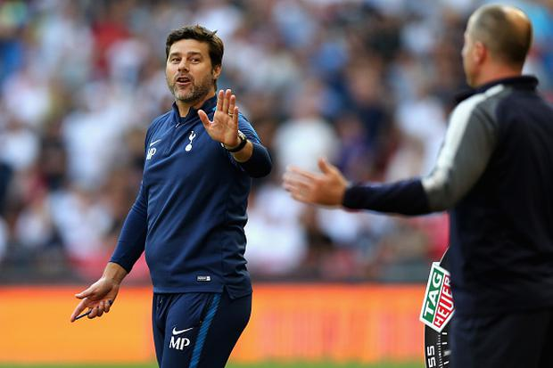 Mauricio Pochettino, Manager of Tottenham Hotspur reacts during the Premier League match between Tottenham Hotspur and Burnley at Wembley Stadium on August 27, 2017 in London, England. (Photo by Tottenham Hotspur FC/Tottenham Hotspur FC via Getty Images)