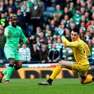 Celtic's Moussa Dembele scores their fourth goal REUTERS/Russell Cheyne