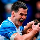 Jonathan Sexton of Leinster celebrates with Jamison Gibson-Park after scoring his side's third try during the European Rugby Champions Cup Pool 3 Round 2 match between Glasgow Warriors and Leinster at Scotstoun in Glasgow, Scotland. Photo by Ramsey Cardy/Sportsfile