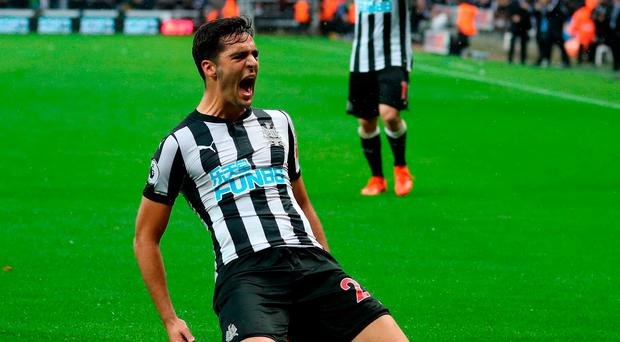 Newcastle United's Mikel Merino celebrates scoring his side's winner