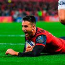 Conor Murray of Munster goes over to score his side's first try during the European Rugby Champions Cup Pool 4 Round 2 match between Munster and Racing 92 at Thomond Park in Limerick. Photo by Brendan Moran/Sportsfile