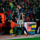 Jonny Evans of West Bromwich Albion leaves the pitch injured during the Premier League match between Southampton and West Bromwich Albion at St Mary's Stadium tonight