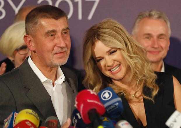 Czech billionaire and leader of ANO 2011 political movement Andrej Babis accompanied with his wife Monika (AP Photo/Petr David Josek)