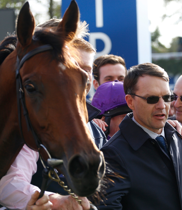 Trainer Aidan O'Brien (centre) after Hydrangea won The QIPCO British Champions Fillies & Mares Stakes Race at Ascot yesterday. Photo: PA