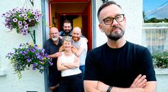 Four's a crowd: Brendan Courtney, presenter of 'This Crowded House', with Andy and Daithi Kennedy, who are back living with their parents