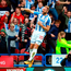 Huddersfield Town's Laurent Depoitre celebrates scoring his side's second goal in the 2-1 Premier League win over Manchester United at the John Smith's Stadium yesterday. Photo: Nigel French/PA