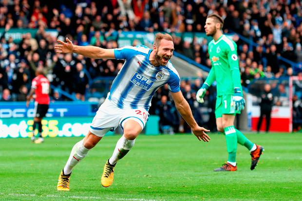Laurent Depoitre of Huddersfield celebrates as he scores their second goal Photo: Getty