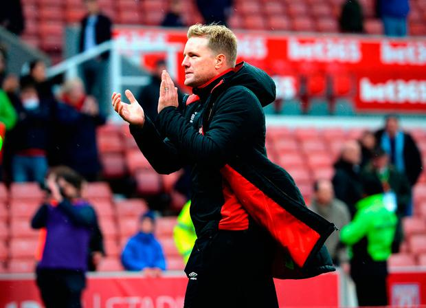 Bournemouth manager Eddie Howe applauds the fans at the end of the game Photo: Getty